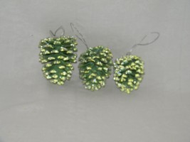3 Painted Glitter Pinecone Ornaments Pine Cone Green Ornament 19042 - $13.99