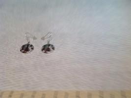 Silver Tone Round Crystal w Brown Enamel Dangle Earrings image 2