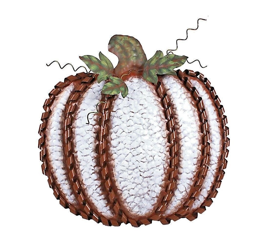 "Fall Harvest Metal Leaf Swirled Pumpkin Decor 19""Tall Large White Pumpkin"