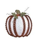 "Fall Harvest Metal Leaf Swirled Pumpkin Decor 19""Tall Large White Pumpkin - £12.03 GBP"