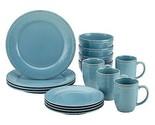 Rachael Ray 55093 Cucina 16-Piece Stoneware Dinnerware Set Agave Blue