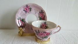 Beautiful Vintage LEFTON China Teacup & Saucer Pink Rose Gold Leaves Tri... - $15.99