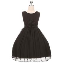 Black Round Neck Yoryu Chiffon Flower Girl Dresses Birthday Bridesmaid Wedding - $38.00