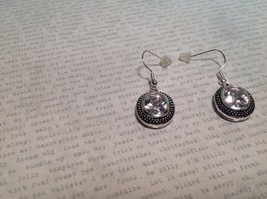 NEW Silver Tone Dangle Earrings w Large Oval Crystals and Filigree image 2