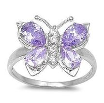 Sterling Silver 925 Purple CZ Butterfly ring size 7 - $20.87