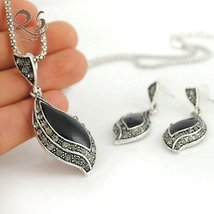 Womens jewelry set necklace earings FREE SHIPPING BLACK - $24.99