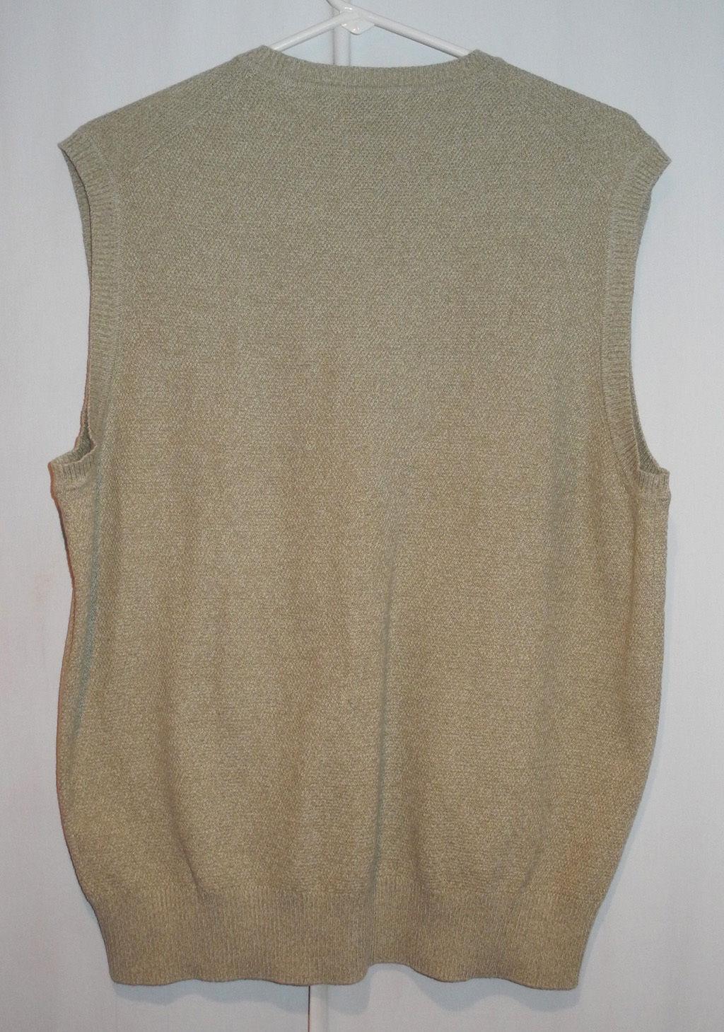 Joseph Abboud Argyle 100% Cotton Sweater Vest - Tan Grey White - Men's M