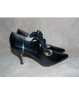 Martinez Valero Patent Leather Black LACE UP Heels Pointy Tip 9 Used No Box - $39.59