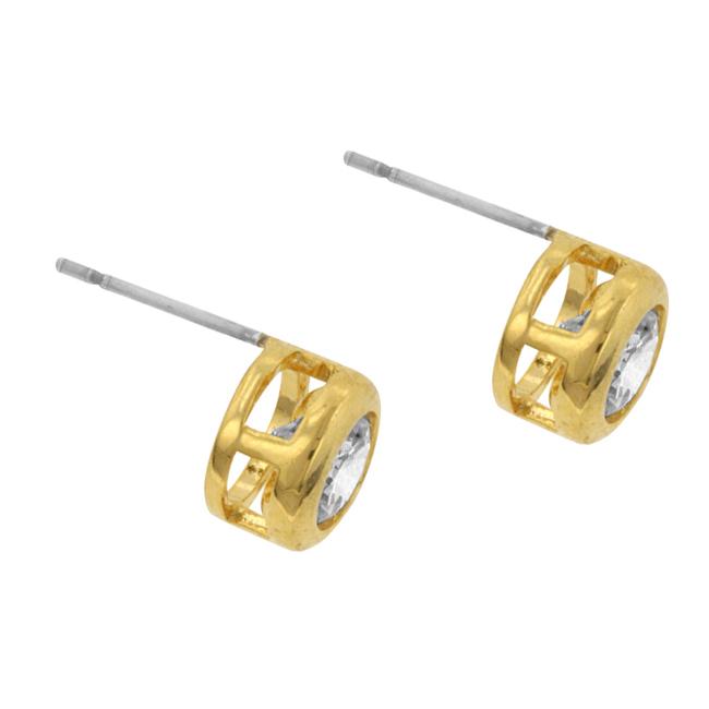 Gold Bezel Stud Earrings