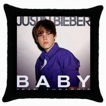 JUSTIN BIEBER  Black Cushion Cover Throw Pillow Case - $15.00