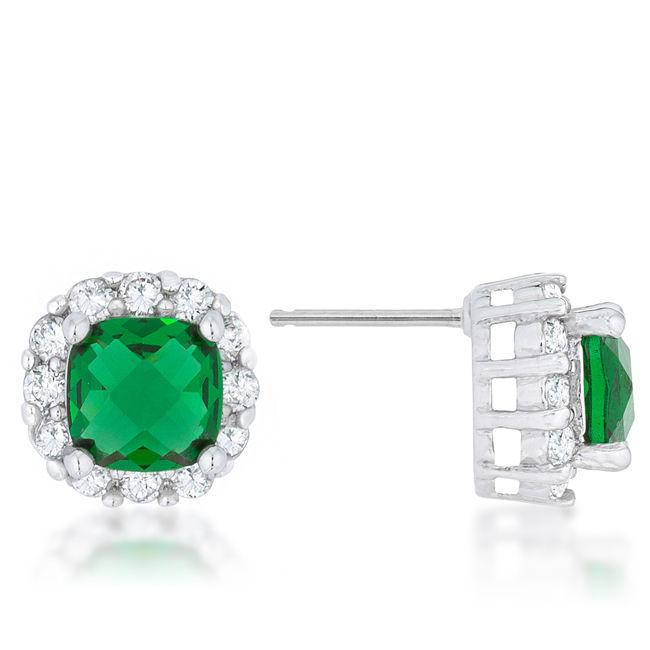 Liz 2ct Emerald CZ White Gold White Gold Classic Cushion Stud Earrings