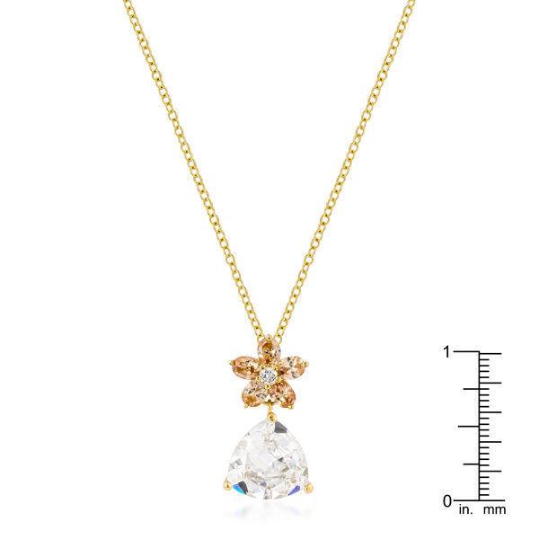 Goldtone Trillion Floral Pendant
