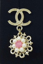 AUTHENTIC Chanel Light Gold CC Pearl Pink Stone Cruise Dangle Piercing Earrings image 2