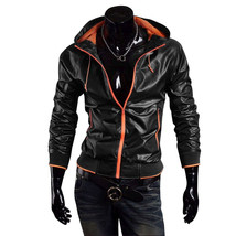 New Handmade Men Stylish Bomber Hooded Leather Jacket, Leather jacket fo... - $179.99