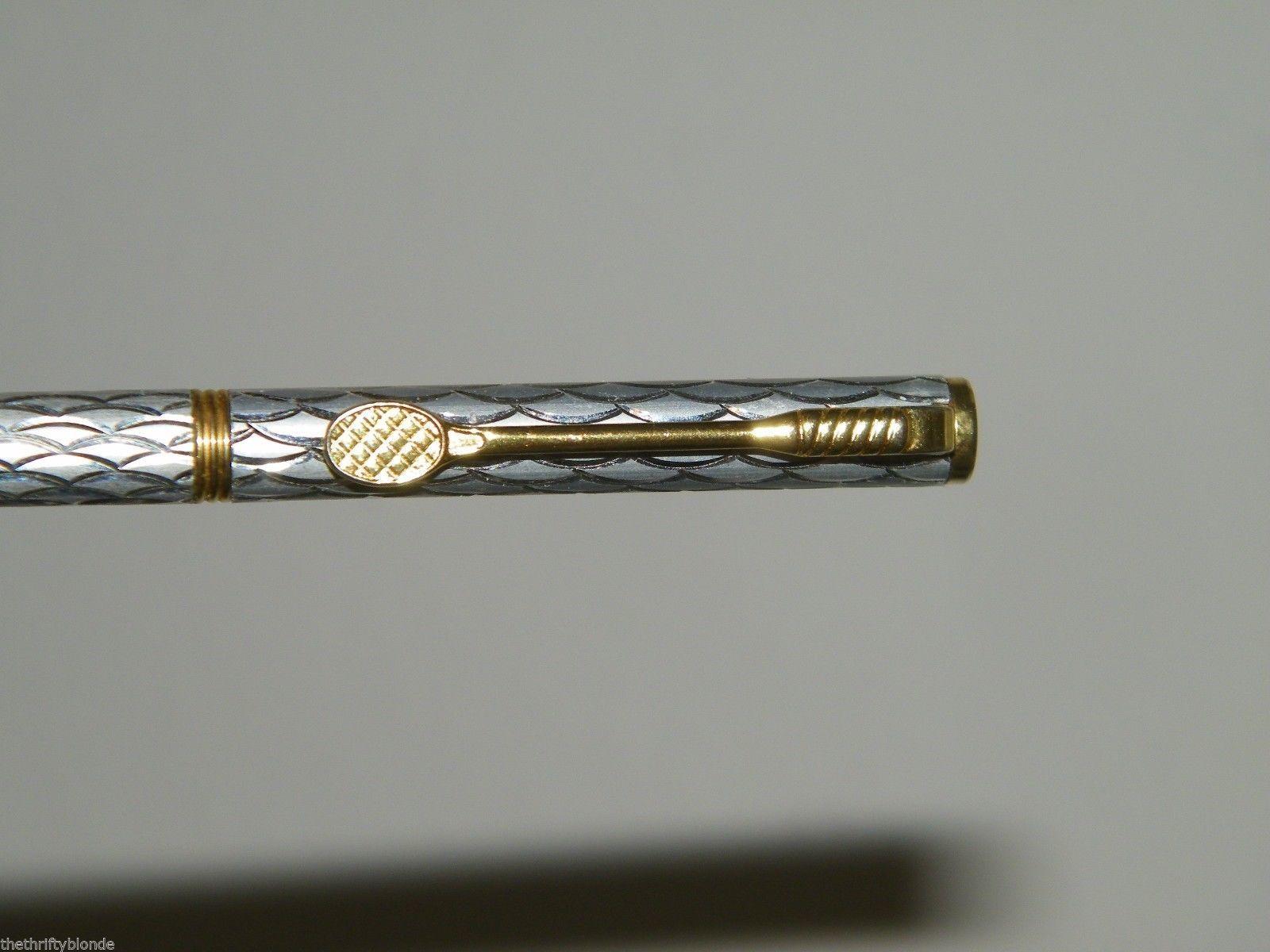 Vintage Tennis Silver Gold Ballpoint Pen Ball Point 17052 image 2