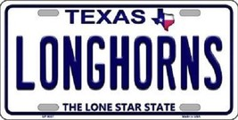 "Texas Longhorns Vanity License Plate Tag 6""x 12"" NCAA Bevo Metal Auto Frame - $12.82"