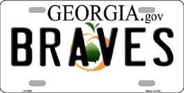"Brave Vanity License Plate Tag State 6""x 12""  Metal Auto Atlanta Georgia New MLB - $12.37"