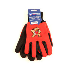 NCAA Maryland Sport Garden Utility Grip Gloves Terps Team Color Red Logo - $6.39