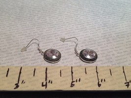 NEW Silver Tone Dangle Earrings w Large Oval Crystals and Filigree image 5