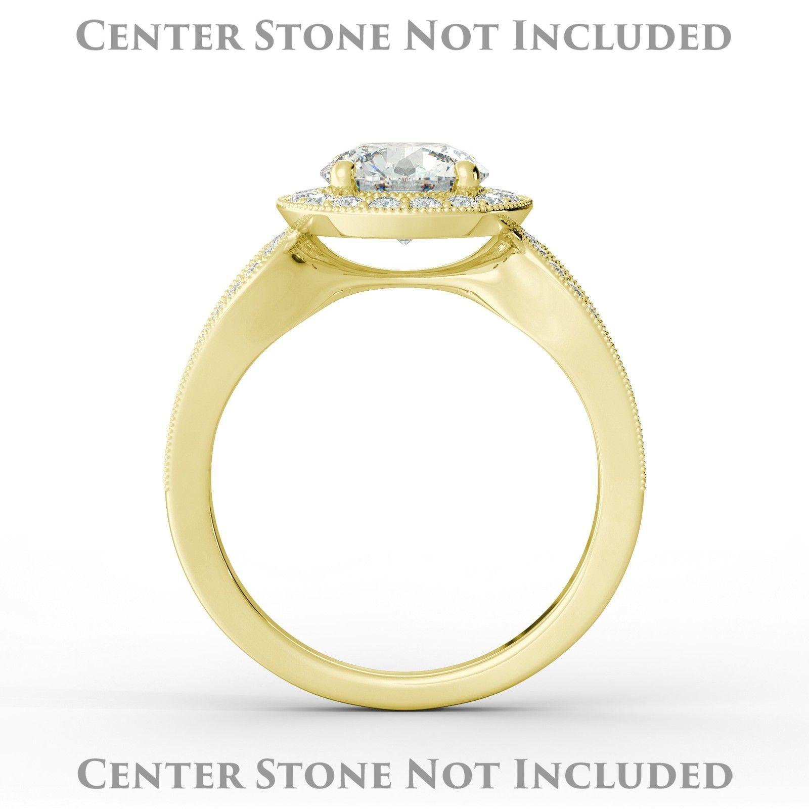 Cushion Vintage Split Shank Halo Diamond Engagement Ring Semi Mount 18 Y Gold
