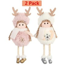 Christmas Decoration 2 Pieces Elk Angel Doll Pendant Tree Hanging Ornament - $16.35