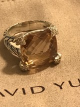 David Yurman Morganite Cushion On Point Diamond Ring Size 7 - $495.00