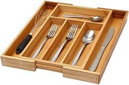Expandable Cutlery Flatware Drawer Organizer Tray Bamboo Storage Kitchen... - £36.52 GBP