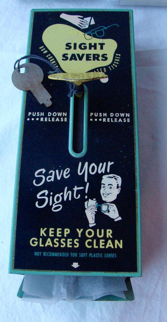 Vintage Sight Savers Dow Corning Eyeglass Tissue Cleaner Dispenser Key Refills