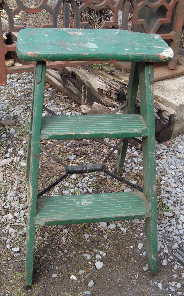 Vintage Two Step Folding Ladder Stool Metal Braces Rustic Farm Green Prop Garden