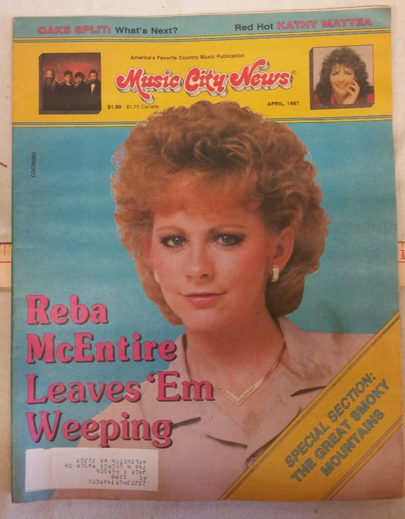 Reba McEntire Leaves 'Em Weeping Cover of Music City News April 1987 Magazine