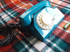 VINTAGE RARE SOVIET RUSSIAN USSR ROTARY DIAL PHONE TA 72 ELECTRIC BLUE C... - $29.14
