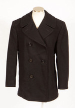 Vintage 90s Black Enlisted Mans Over Coat Navy ... - $113.84