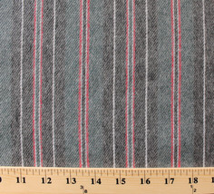 Medium Heavy Chamois Brushed Stripes Grey Cotton Flannel Fabric Print D275.07 - $8.99