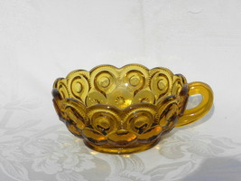 Vintage L.E. Smith Amber Glass Moon and Star Nappy with Handle - $29.99