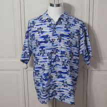 Mens Medium Pineapple Connections Tropical Hawaiian Aloha Shirt Blue Sz M -H - $12.98