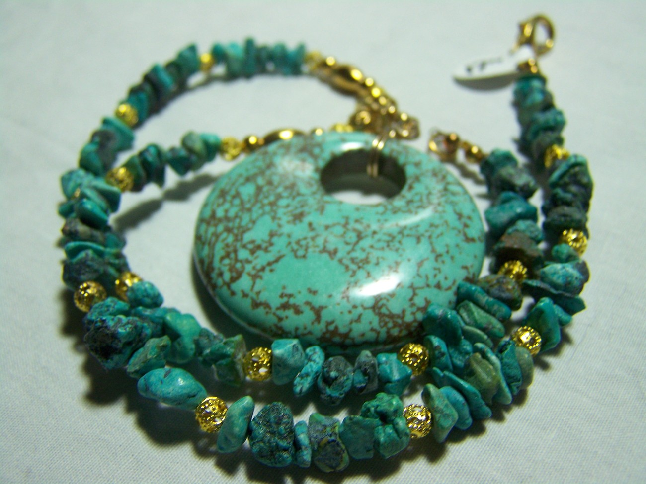 Dragon skin turquoise pendant gold nugget necklace