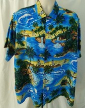 CREATIONS HAWAIIAN SHIRT Aloha Blue Palm Trees Waterfall Bongos Mens But... - $23.36