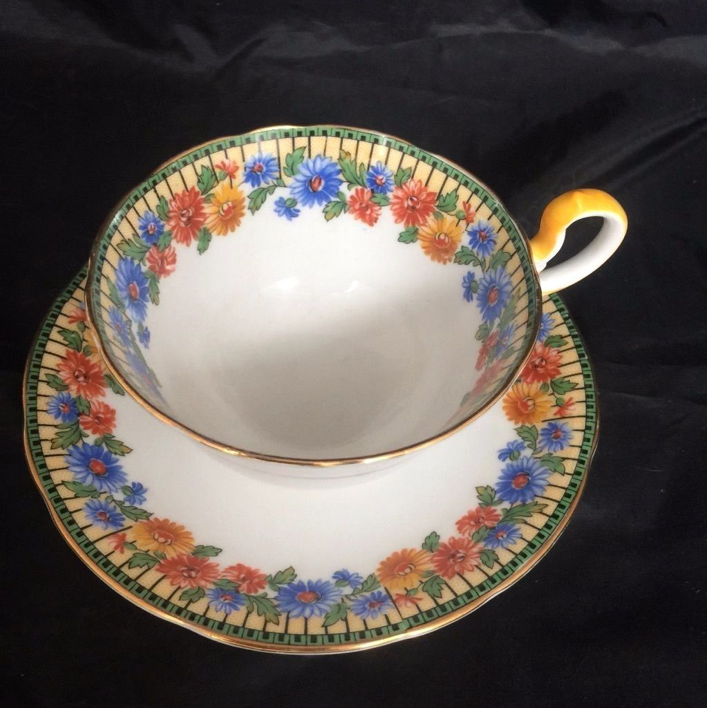 Aynsley Tea Cup & Saucer Floral Pattern Bone China England Blue Yellow Vintage