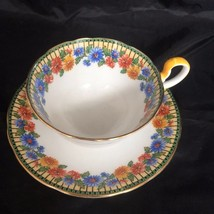 Aynsley Tea Cup & Saucer Floral Pattern Bone China England Blue Yellow V... - $33.64