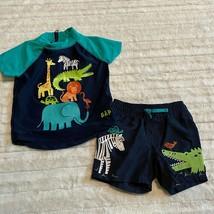 Baby Gap Rash Guard And Swim Trunks 6 - 12 Months Boys Jungle Animals - $14.24