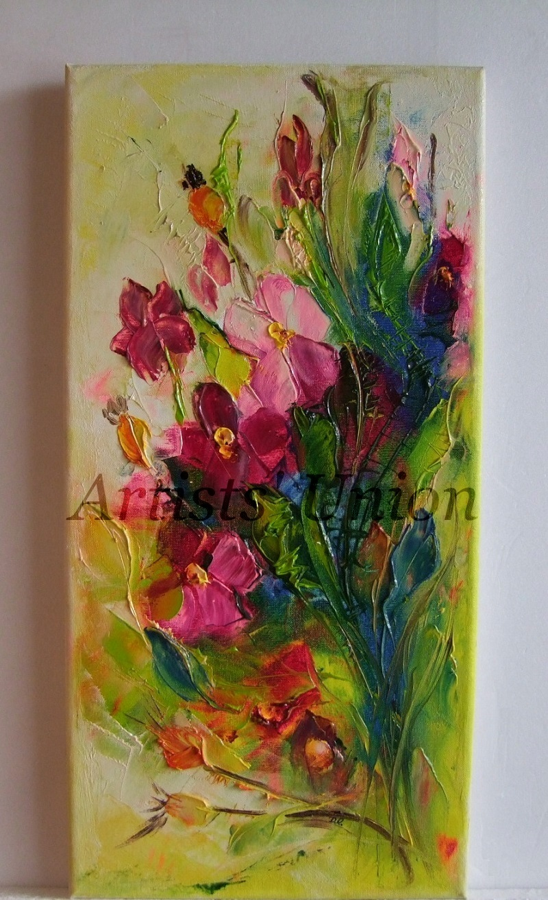 Wild Roses Impression Original Oil Painting Impasto Flower European Artist Offer