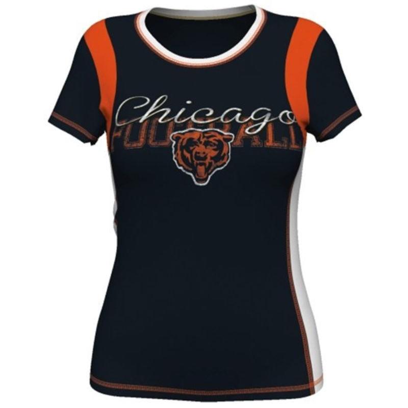 Chicago Bears Women's Shirt NFL Pride Playing Short Sleeve Deep Crew Tee T-Shirt