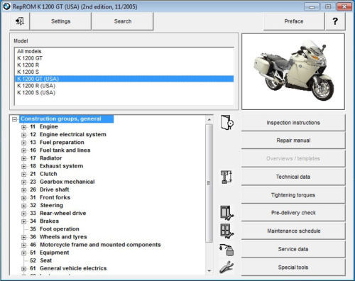 2005-2008 BMW K1200GT RepROM Service Manual on a CD - Multilingual