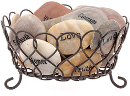 Stonebriar Inspirational L Polished River Stones With Decorative Basket,... - $74.70