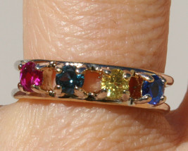 VINTAGE  14k GF & BRASS  ANNIVERSARY BAND RING WITH BLUE YELLOW RED MAVI... - £20.79 GBP