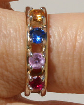 VINTAGE  14k GF & BRASS  ANNIVERSARY BAND RING WITH BLUE YELLOW RED PINK... - £20.79 GBP