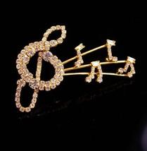 """3"""" HUGE rhinestone brooch / music Note pin / Musical notes / vintage mus... - $70.00"""