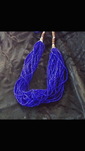 multi strand beaded cobalt blue colored necklace - $24.99