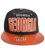 Georgia Men's Adjustable Snapback Baseball Cap Hat Black/Red Textured Bill - $11.95