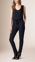 BURBERRY BRIT 'Horsell' Sleeveless Drawstring Waist Jumpsuit  Size US 2 ... - $193.05